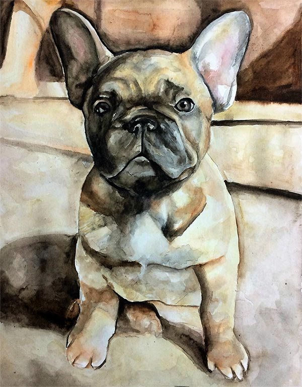a watercolor painting of a french bulldog picture to art