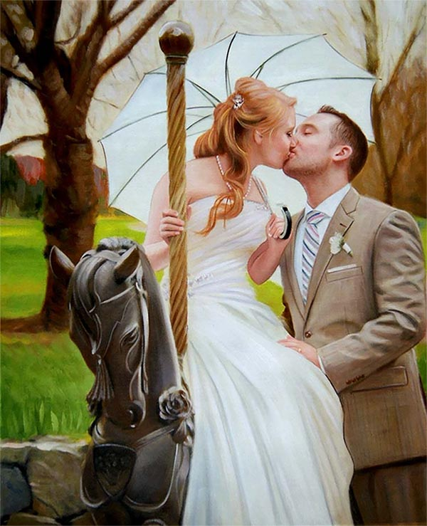 an oil painting of a couple on the wedding kissing
