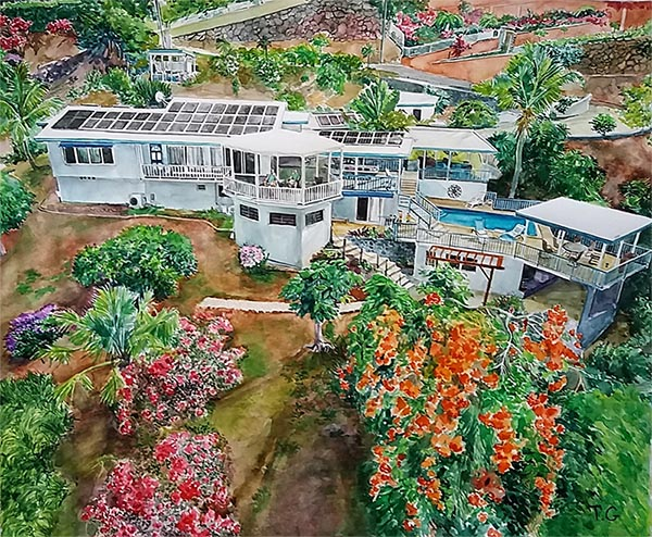 custom watercolor painting of a Caribbean house
