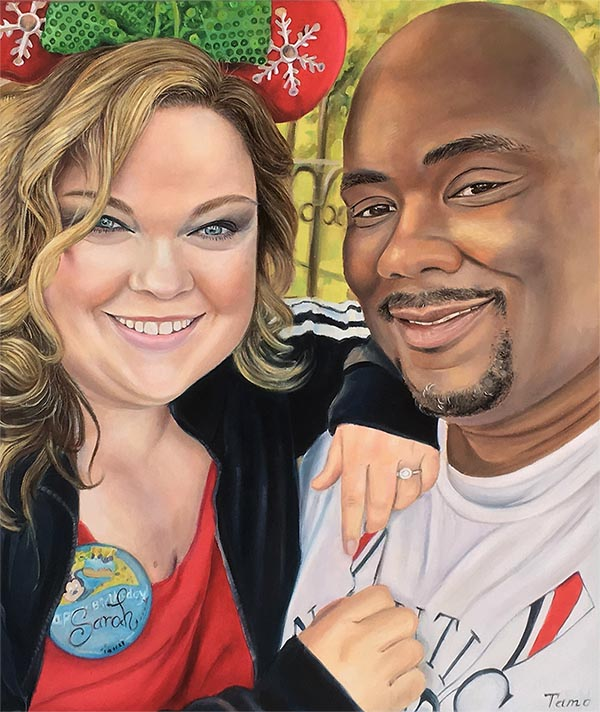 oil painting of couple black man and white woman at Disney