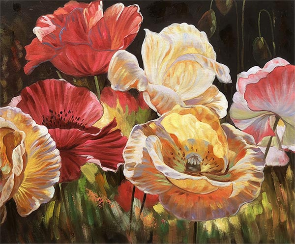 picture to painting of beautiful colorful flowers
