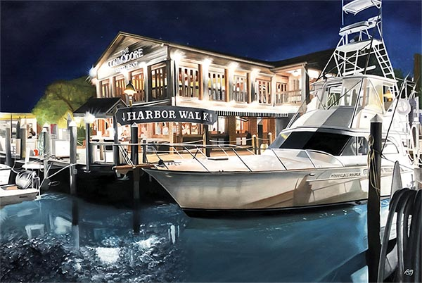 an oil painting of an yacht in the harbor