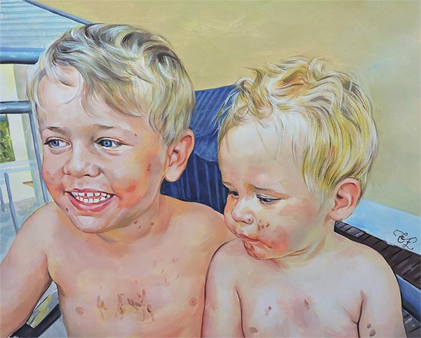 two boys painted in pastel