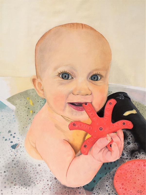 a custom oil painting of a toddler having a bath