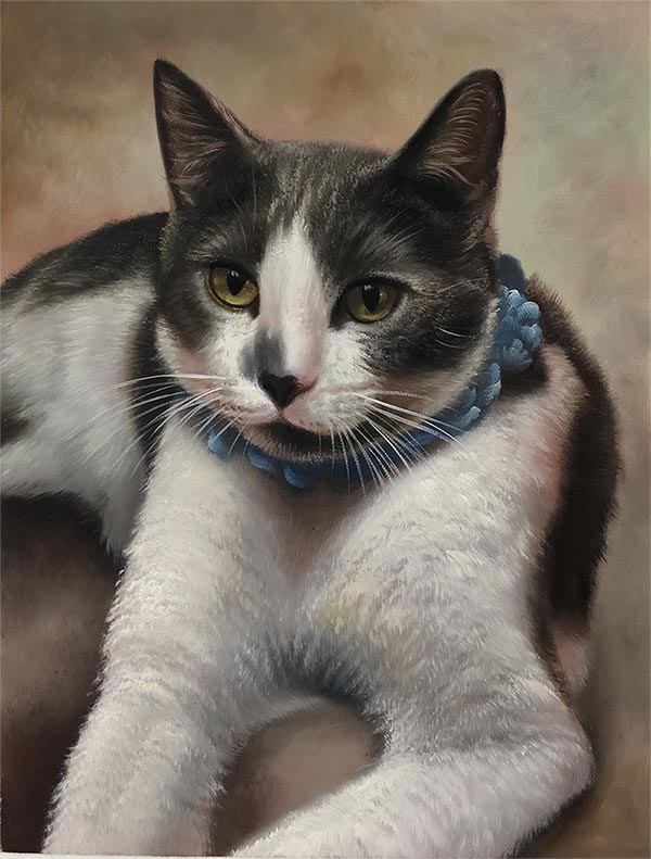 an oil painting of a black and white fluffy cat