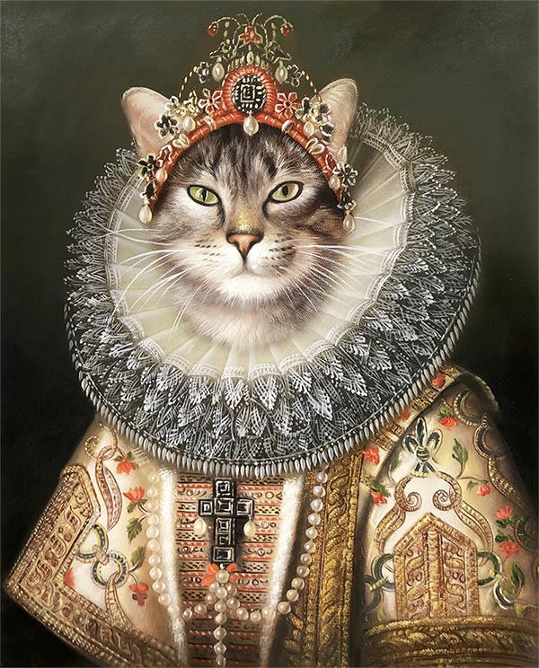 a custom oil portrait of a cat in royal outfit