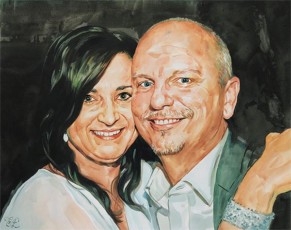 water color painting of man and woman with multicolored eyes