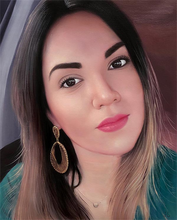 a beautiful oil painting of a woman with pink lipstick