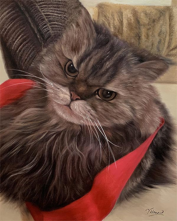 an oil painting of a long haired angry cat