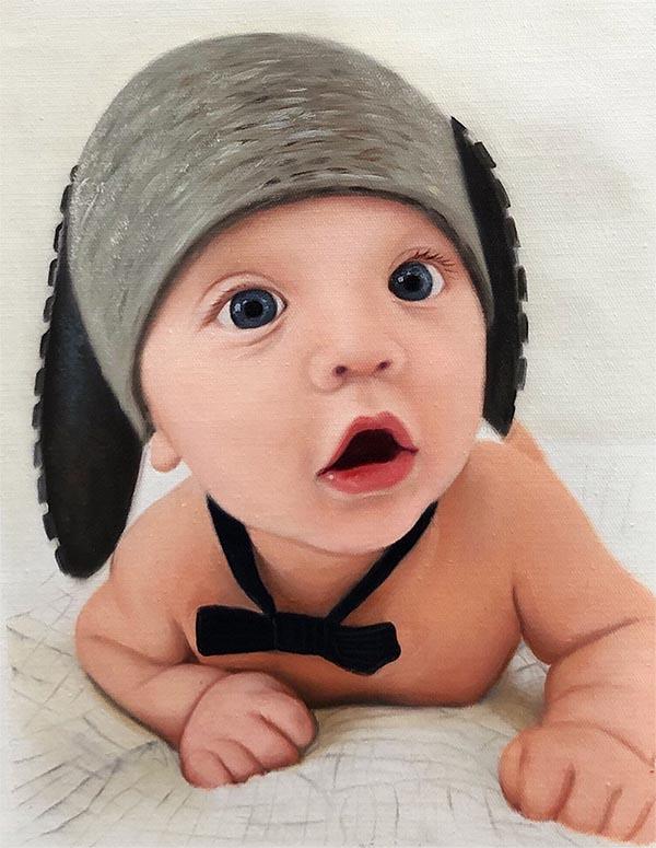 Bambino olio su tela da fotografia