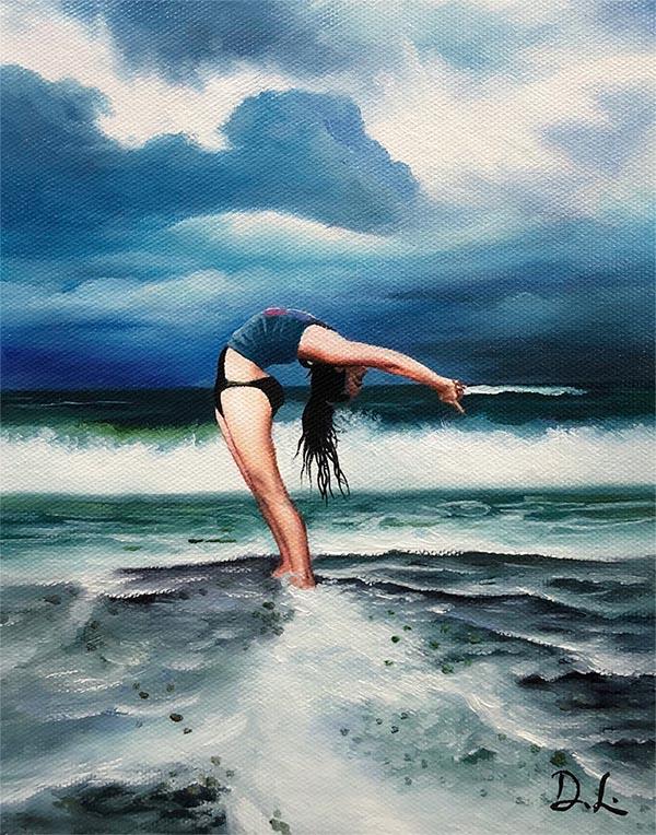 a custom oil painting of a woman doing yoga on a beach
