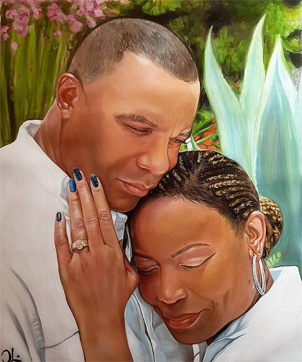 an oil painintg of black couple hugging