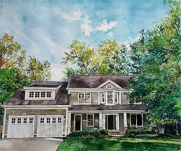 custom watercolor painting of a house