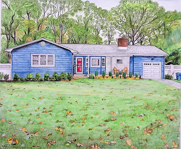 custom colored pencil drawing of a blue house with red door