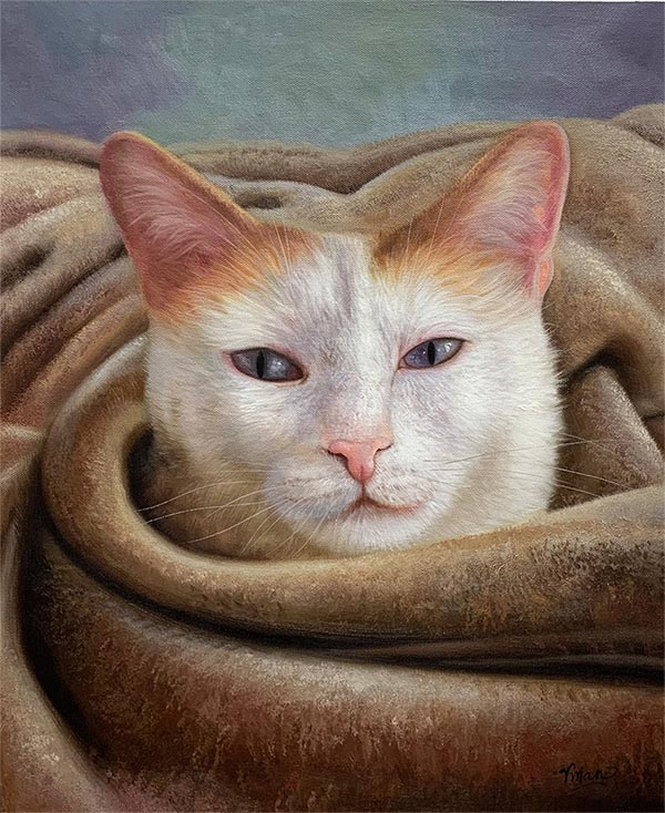 an oil painting of a white and orange cat with blue eyes
