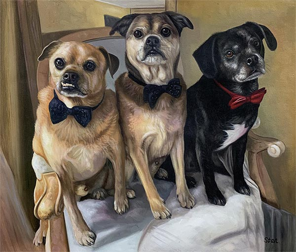 handmade oil painting of dogs on a char