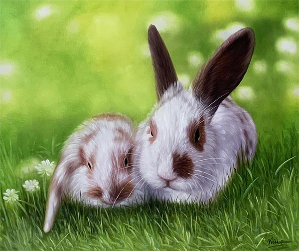 custom acrylic painting of two rabbits on a field