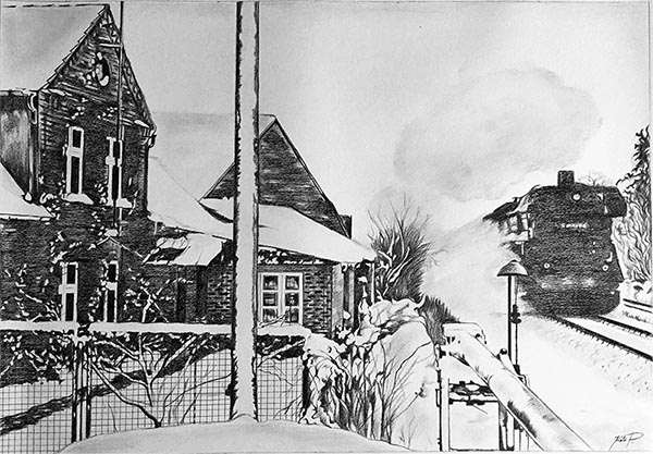 custom pencil drawing of a house with a train