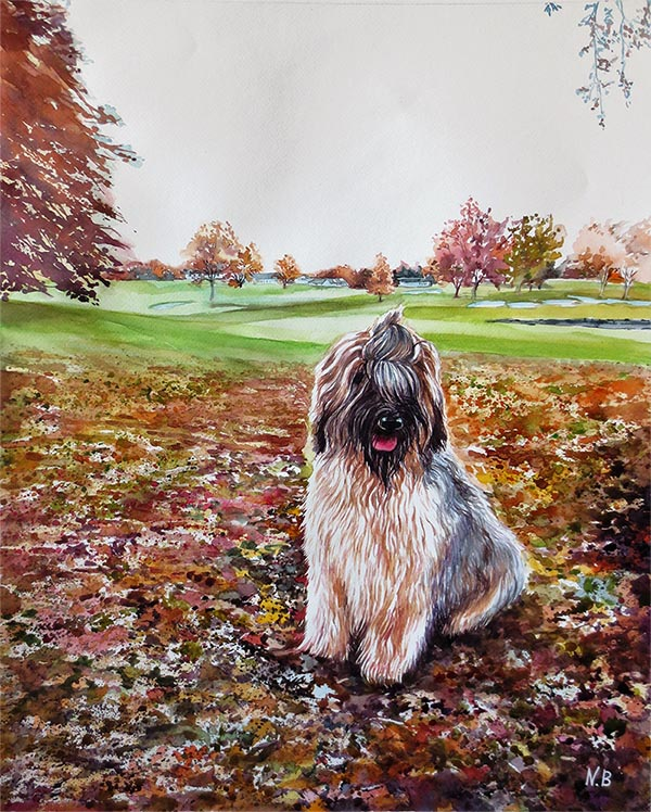 custom watercolor painting of dog at the park
