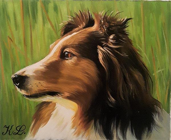 Tête de son chien peint