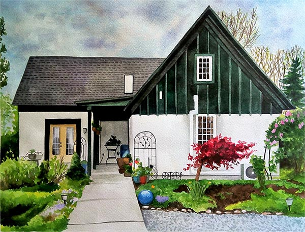 watercolor painting of home with a lovely front yard