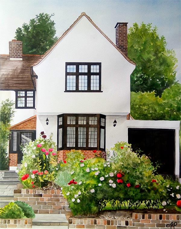 custom watercolor painting of a part of a house with roses
