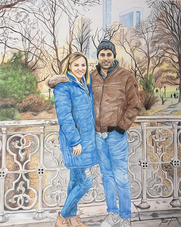 custom colored pencil drawing of couple in the park