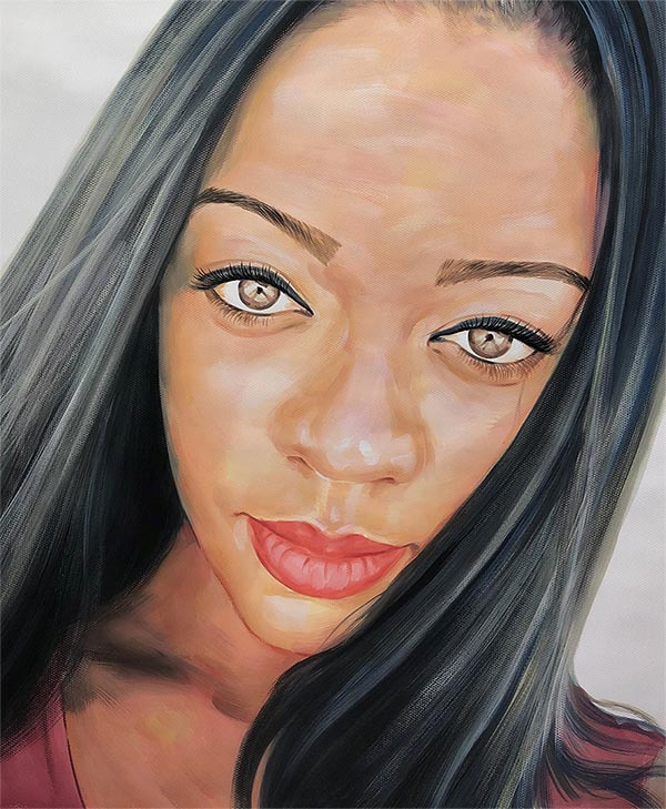 pastel painting of a woman