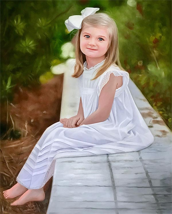 a custom oil painting of a little blonde girl in white