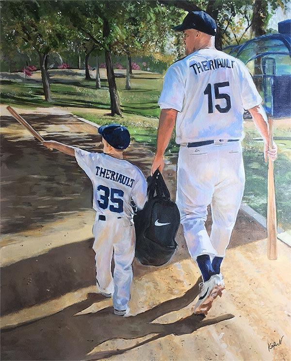an acrylic custom painting of father and son playing baseball