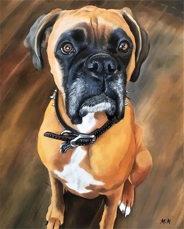 an oil painting of a light brown boxer