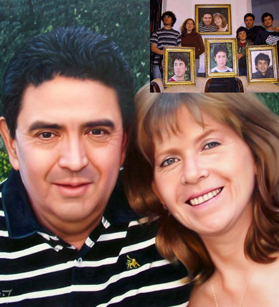 fotos de la familia como pinturas al óleo