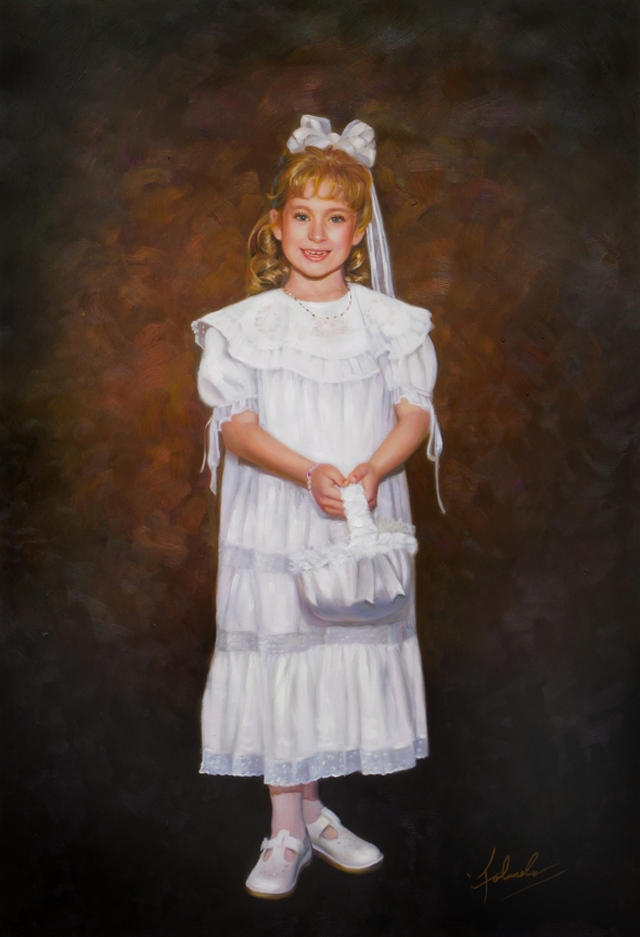 a custom oil painting of a child in white dress