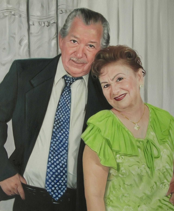 picture to painting of elder couple suit and tie
