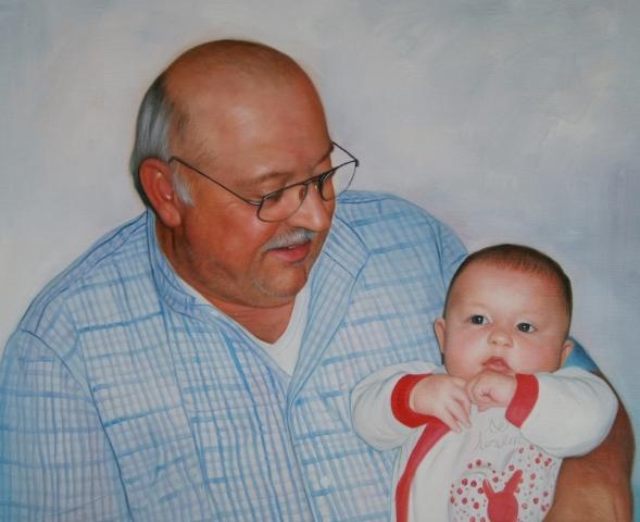 Portrait grand-père et bébé
