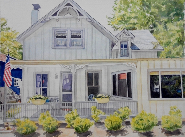 custom watercolor painting of American household with trees