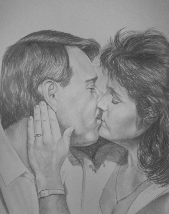 custom pencil drawing of a couple kissing
