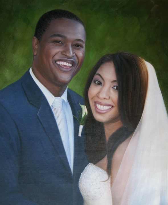 an oil painting of a black wedding couple