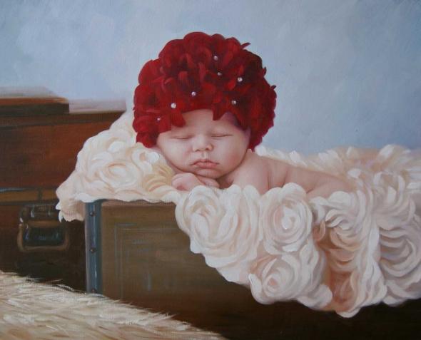 a custom oil portrait of a newborn sleeping