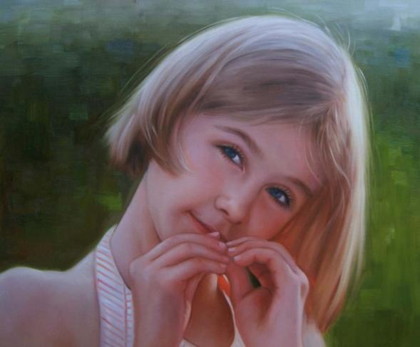 Ölgemälde eines jungen Mädchens