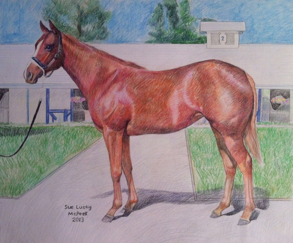 custom colored pencil drawing of a horse near stable