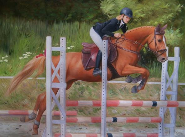 Tableau de cheval en course