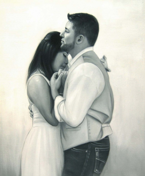 a black and white oil painting of wedding couple dancing