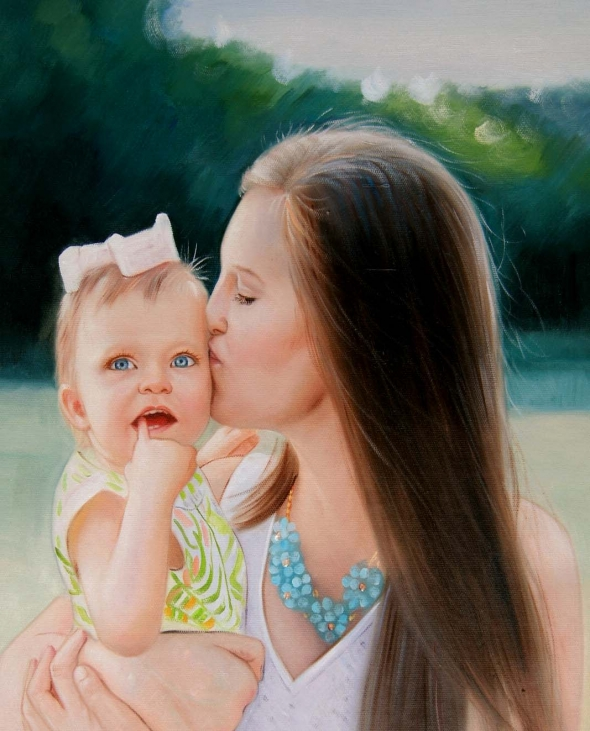 an oil painting of a mother kissing her blue eyed daughter