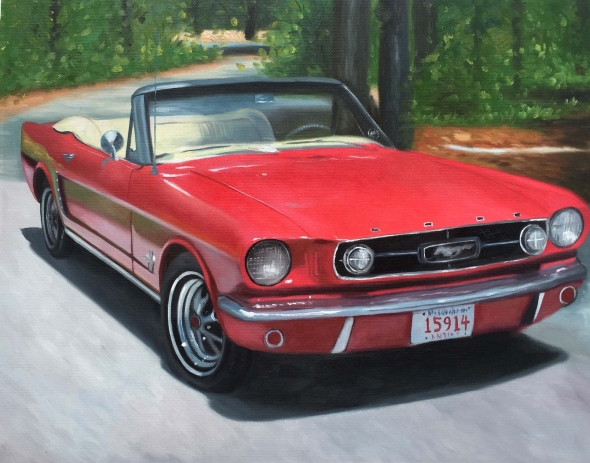 Custom oil handmade painting of a red mustang