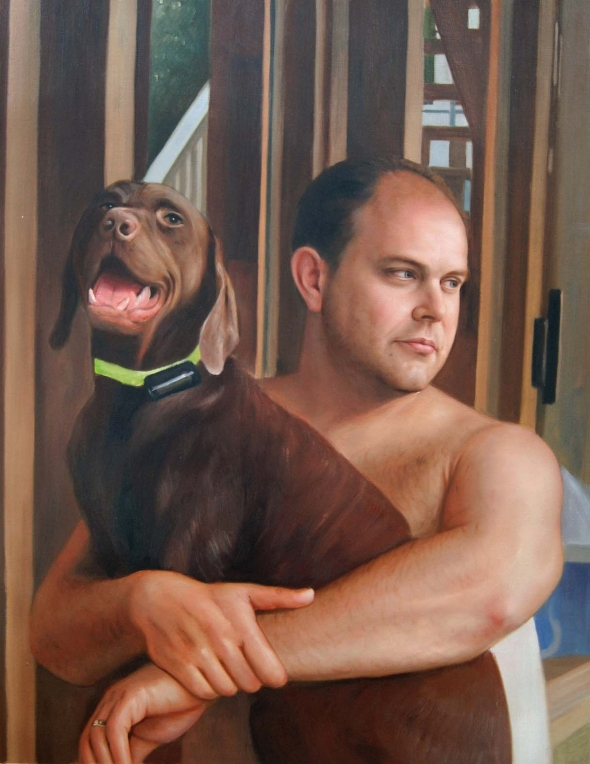 Custom oil painting of a man hugging his labrador