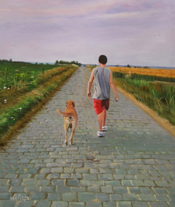 Custom oil portrait of an owner and a dog in the park