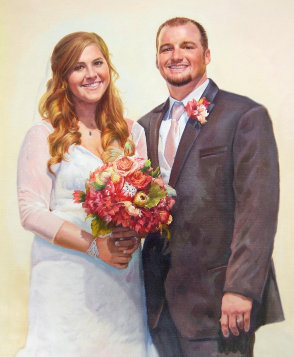 an oil painting of wedding couple with beautiful flowers