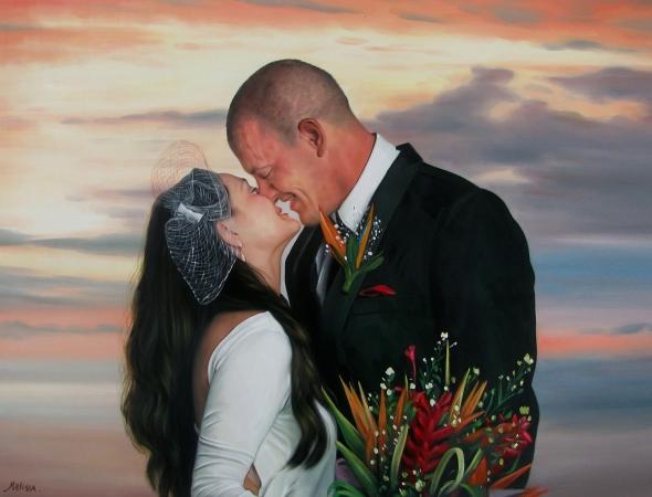 an oil painting of a wedding couple dusk