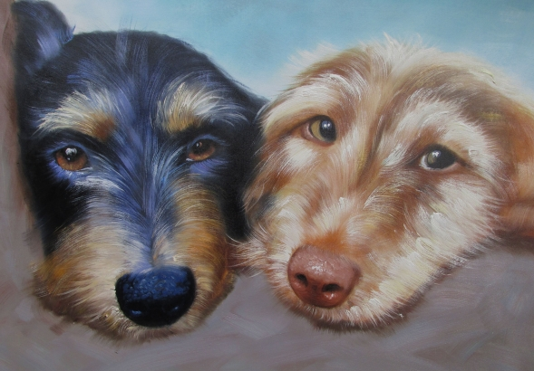 two dogs together painting